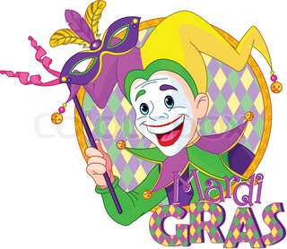 320x278 Cliprt Illustration Of Cartoon Mardi Gras Jester Holding
