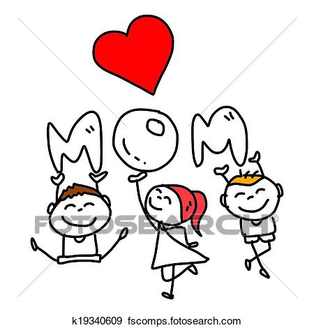 450x470 Clip Art Of Hand Drawing Cartoon Concept Happy Mother's Day