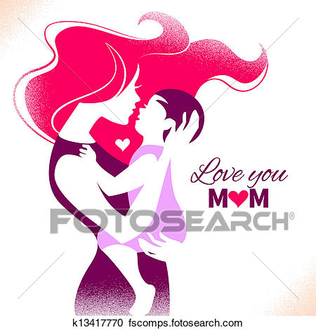 450x470 Clipart Happy Mother's Day. Card With Beautiful Silhouette