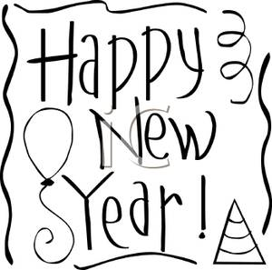 300x297 New Year's Day Black And White Clipart