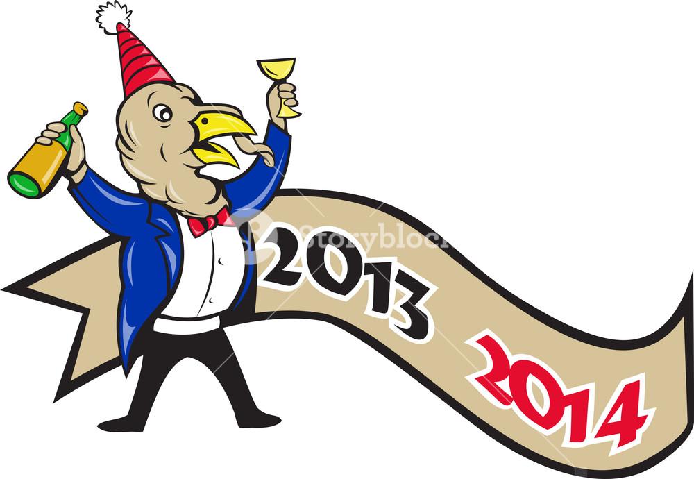 1000x690 Happy New Year 2014 Turkey Toasting Wine Cartoon Royalty Free