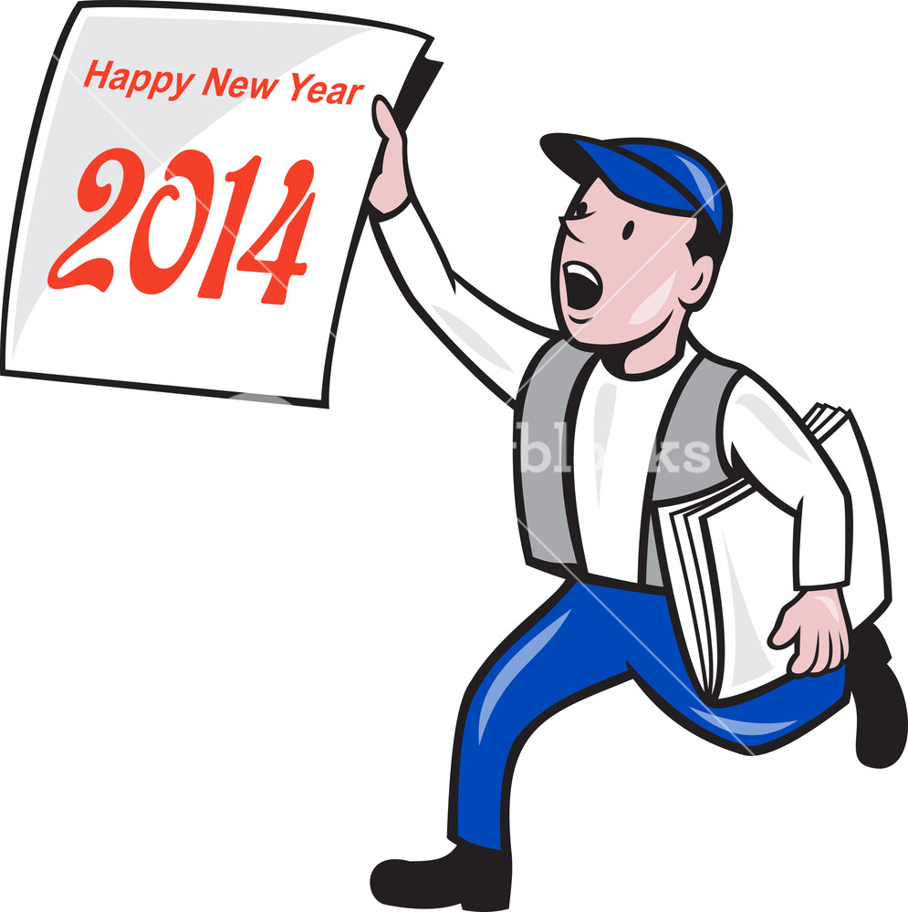 995x1000 New Year 2014 Newspaper Boy Showing Sign Cartoon Royalty Free