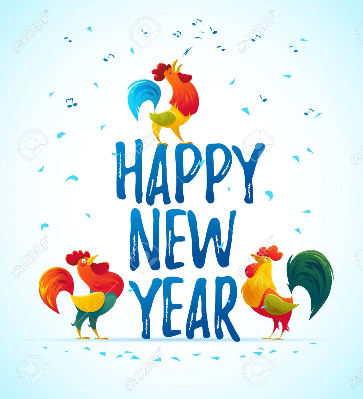1181x1300 Vector New Year Congratulation Design. Singing Rooster, Cock