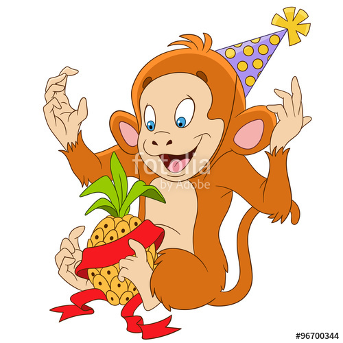 500x500 Cute Funny New Year Cartoon Monkey Is Happy To Have A Gift