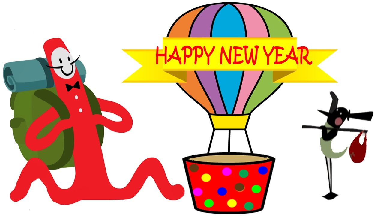 1280x720 Balloons Flying On Happy Holiday New Year Special Kids Cartoon