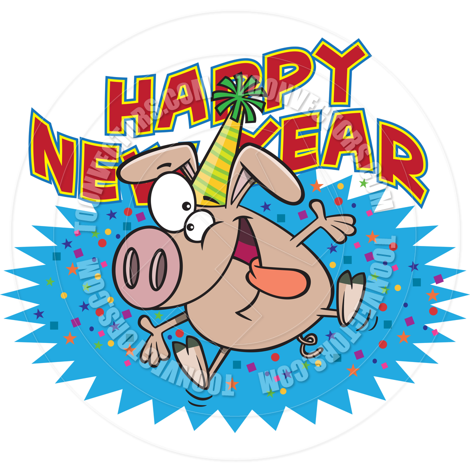 940x940 Cartoon Happy New Year Pig By Ron Leishman Toon Vectors Eps