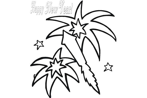 600x400 Happy New Year Black And White Clipart