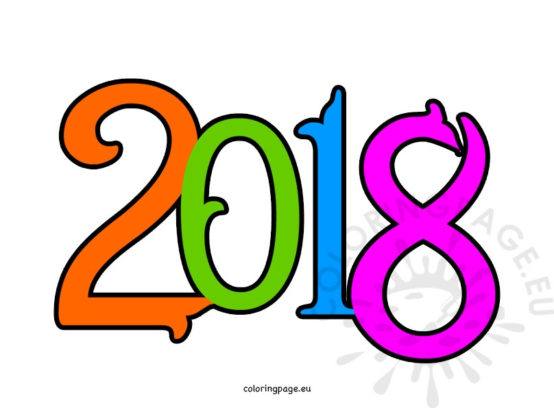 808x595 Happy New Year 2018 Clipart Coloring Page