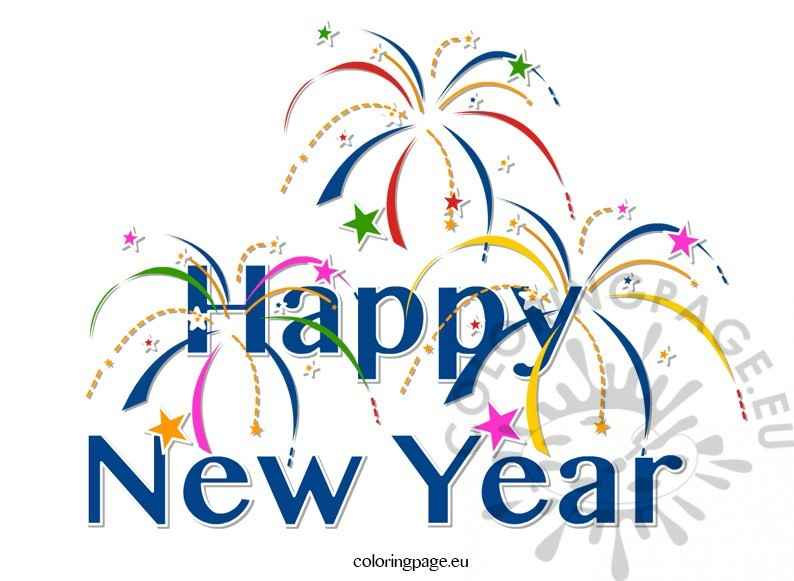 794x581 Clipart Happy New Year Coloring Page