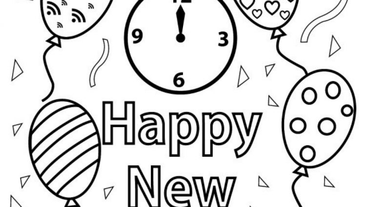750x425 Free Happy New Year Colouring Pages For Kids Within Happy New Year