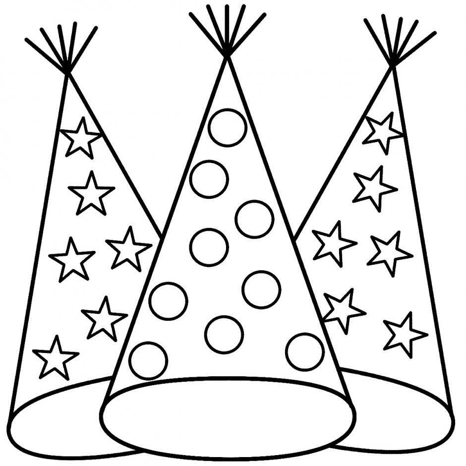 940x940 Happy Birthday Hats Coloring Sheets Happy New Year Party Hat