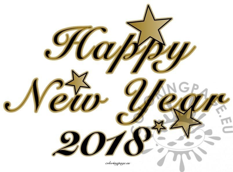 804x595 Happy New Year 2018 Black Images Coloring Page