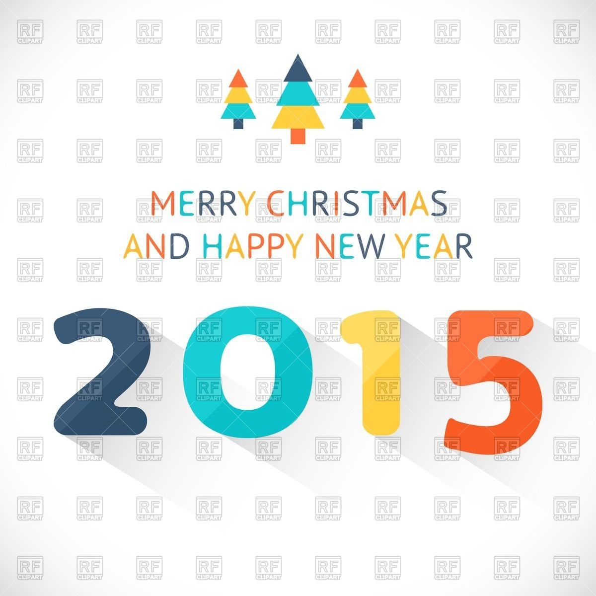 1200x1200 Happy New Year 2015 Colorful Greeting Card Made In Retro Flat