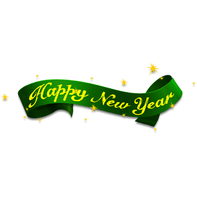 400x400 Happy New Year Green Ribbon Transparent Png