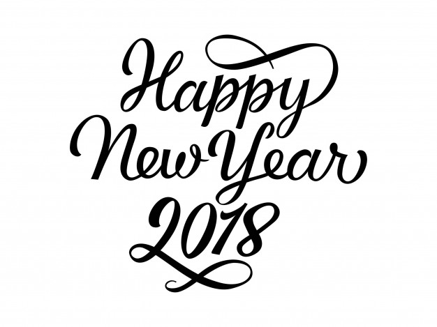 626x469 Happy New Year 2018 Lettering Vector Free Download