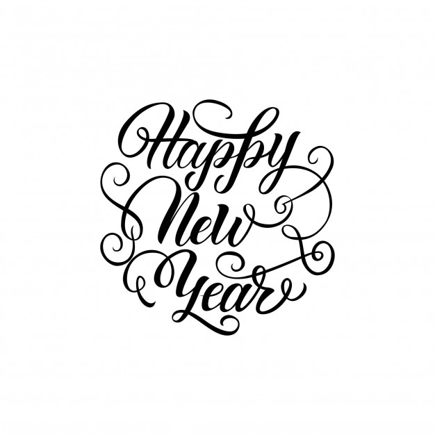 626x626 Happy New Year Lettering With Curls Vector Free Download