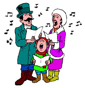 357x366 People Singing Christmas Carols Clipart
