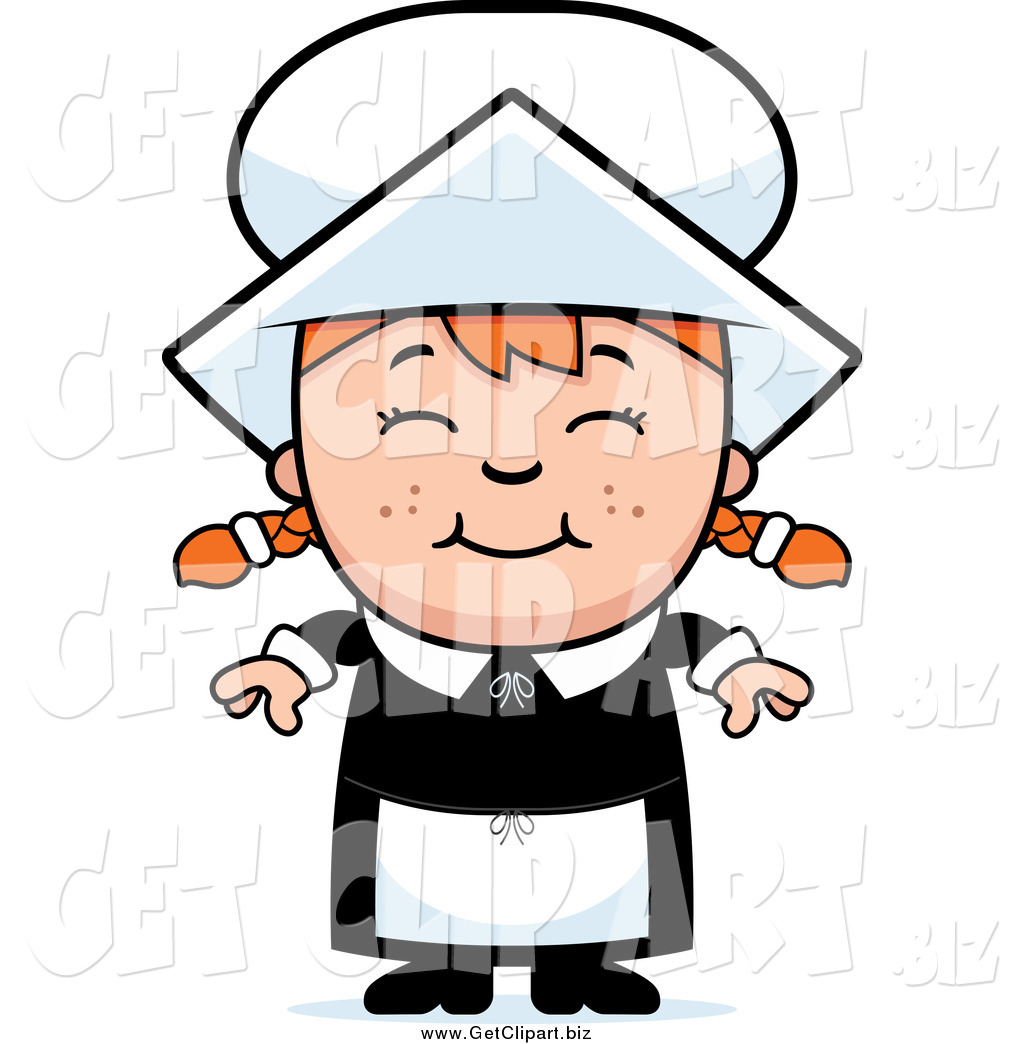 1024x1044 Clip Art Of A Happy Pilgrim Girl With Red Hair By Cory Thoman