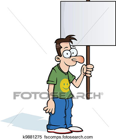 388x470 Clipart Of Happy Man With Protest Sign K9881275