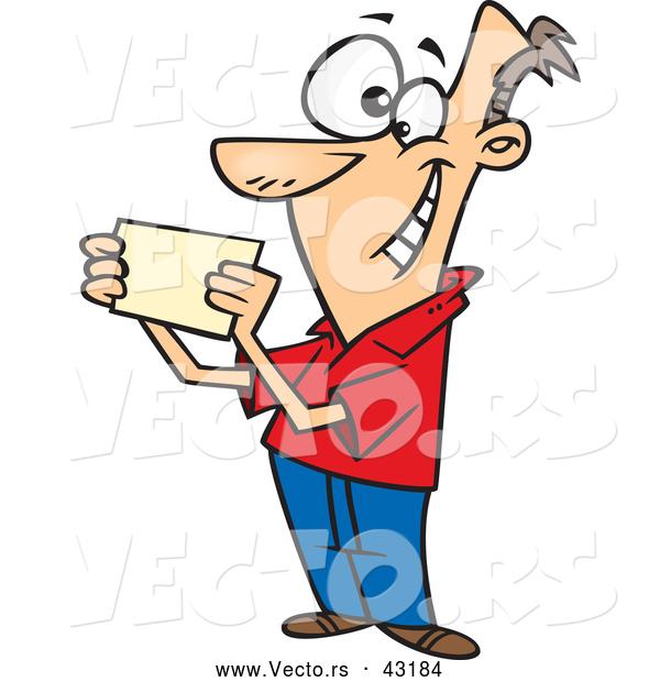 600x620 Vector Of A Happy Cartoon Man Reading A Blank Invitation Card By