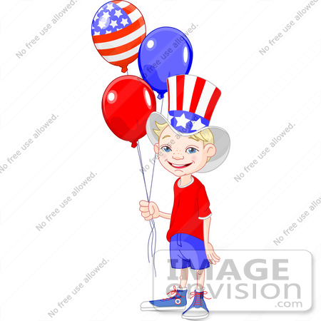 450x450 Clip Art Illustration Of A Happy American Boy Wearing The Stars