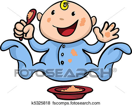 450x363 Clip Art Of Happy Cute Weaning Baby Playing With Food K5325818