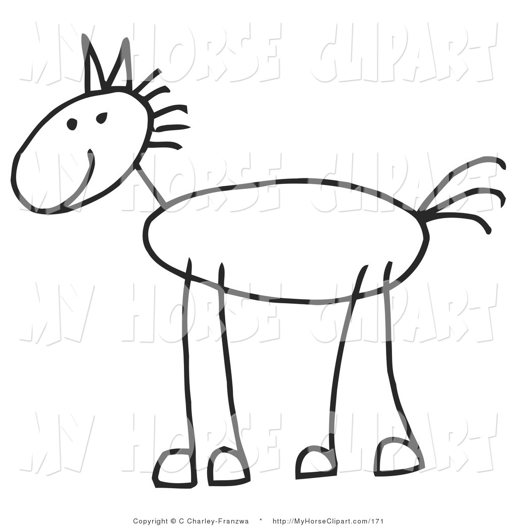 1024x1044 Clip Art Of A Happy Stick Figure Pony In Profile By C Charley