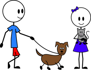 300x232 Cliprt Illustration Of Stick Figure Boy Taking His Dog