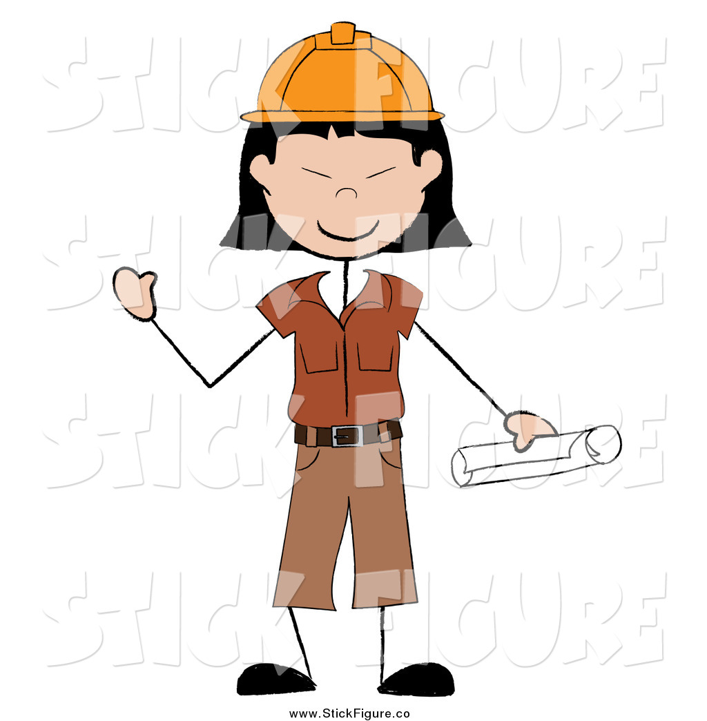 1024x1044 Clip Art Of A Happy Stick Asian Construction Worker Waving By Pams