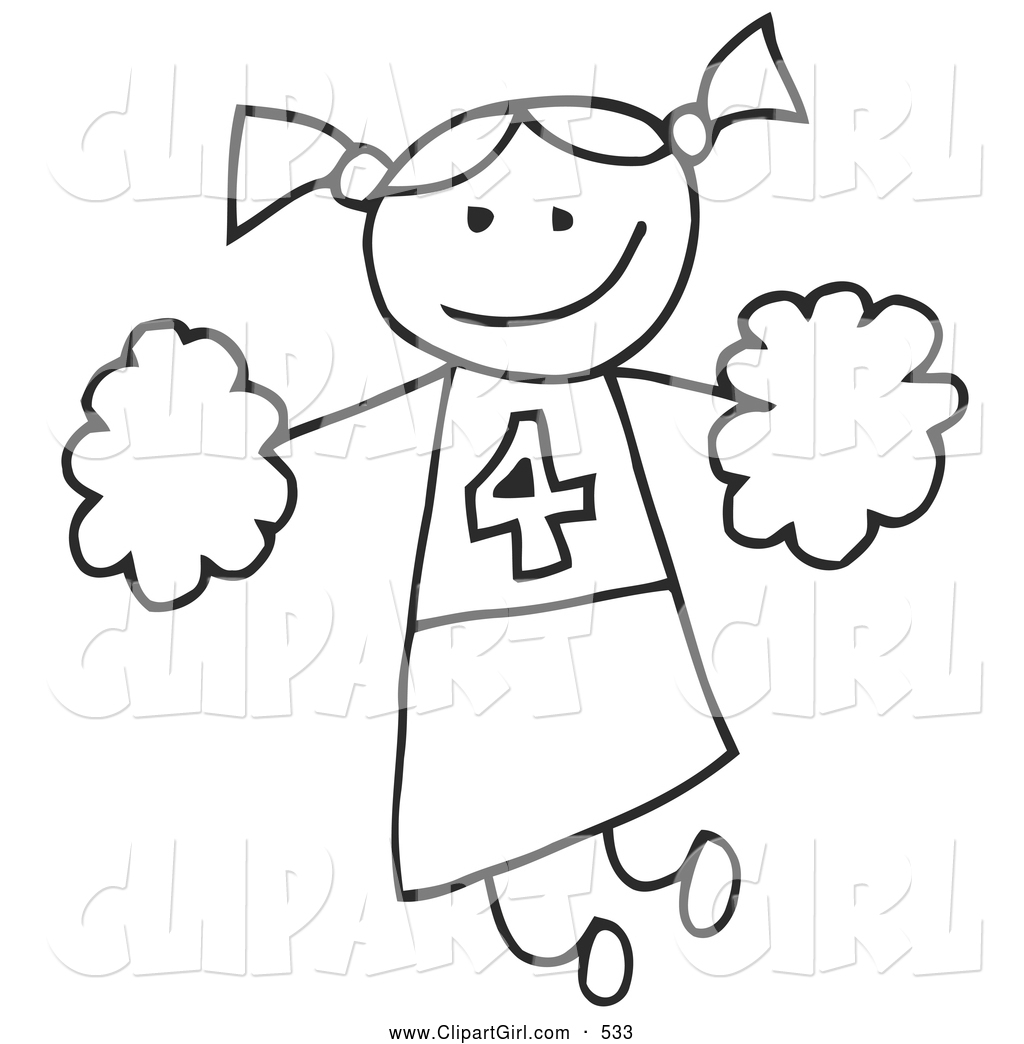 1024x1044 Clip Art Of A Happy Stick Figure Cheerleader Girl Holding Pom Poms