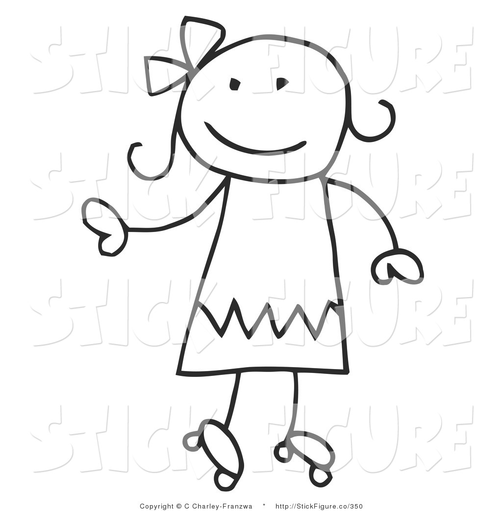 1024x1044 Clip Art Of A Happy Stick Figure Girl Roller Skating By C Charley