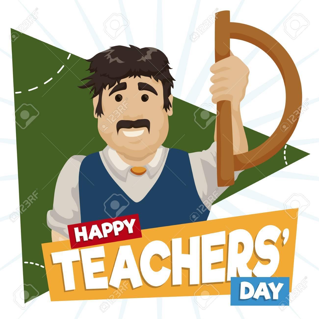 1300x1300 Happy Educator Celebrating Teachers' Day In The Classroom