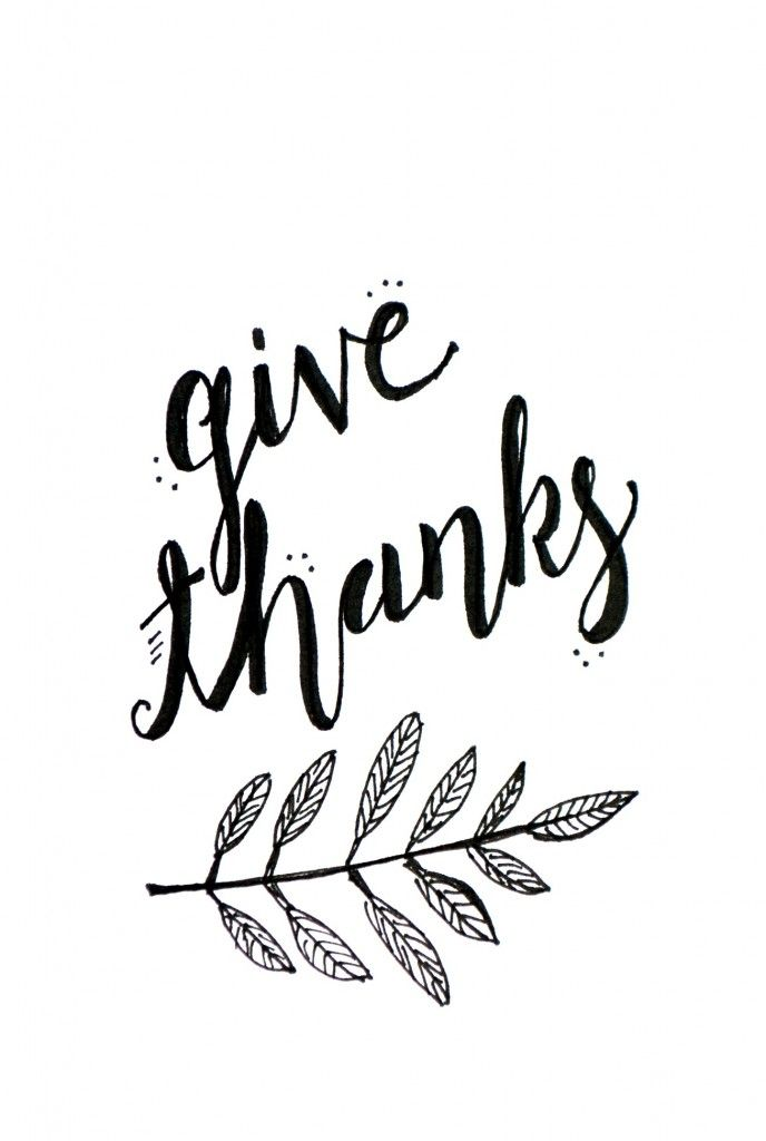 688x1024 Give Thanks Clip Art In Black And White Happy Thanksgiving