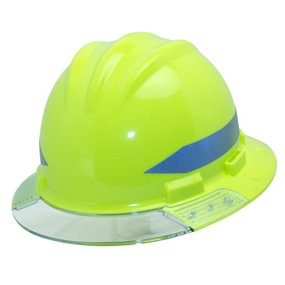 e08f0bdd83ed5 1000x1000 Hi Vis Full Brim Above View Hard Hat With Clear Brim Visor 4 Point