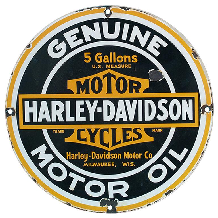 768x768 Vintage Harley Davidson Genuine Motor Oil Porcelain Sign Vintage