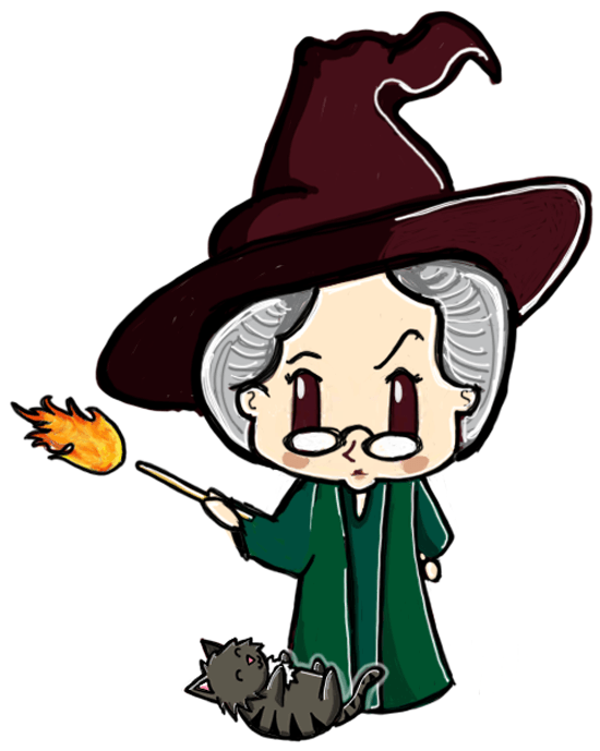550x689 How To Draw A Cute Chibi Professor Mcgonagall And Cat From Harry