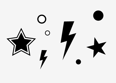 450x322 Lightning Bolt Stencil Group