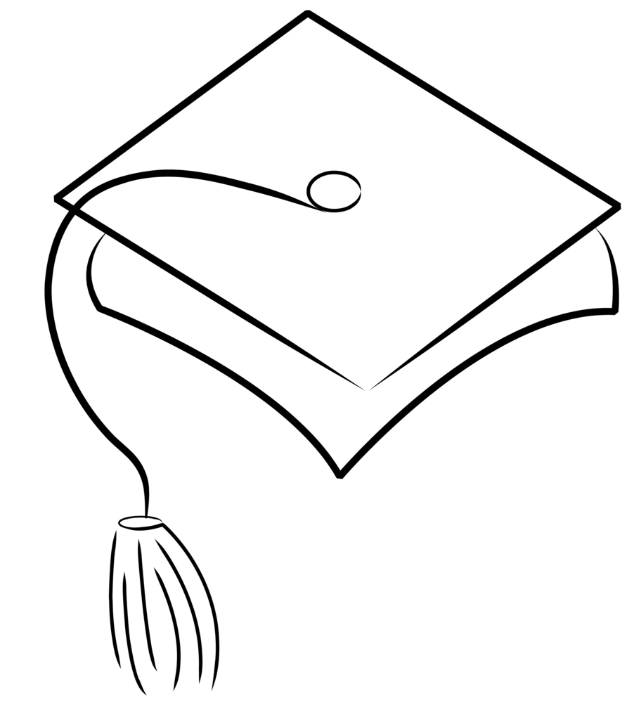 902x1000 Graduation Cap Clipart Black And White Clipartfest