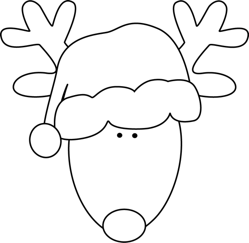 500x488 Santa And Reindeer Clipart Black And White