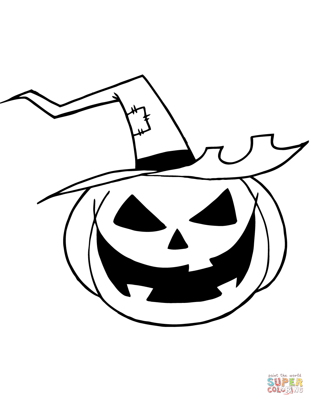 1005x1300 Scary Jack O' Lantern With A Witch Hat Coloring Page Free
