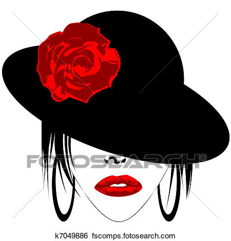 450x470 Stock Illustration Of Modern Woman With Hat And Earrings K7049886