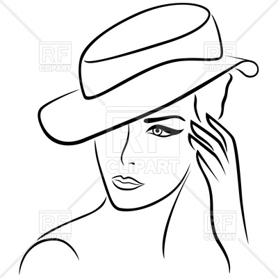 400x400 Elegant Young Girl In Hat, Outline Royalty Free Vector Clip Art