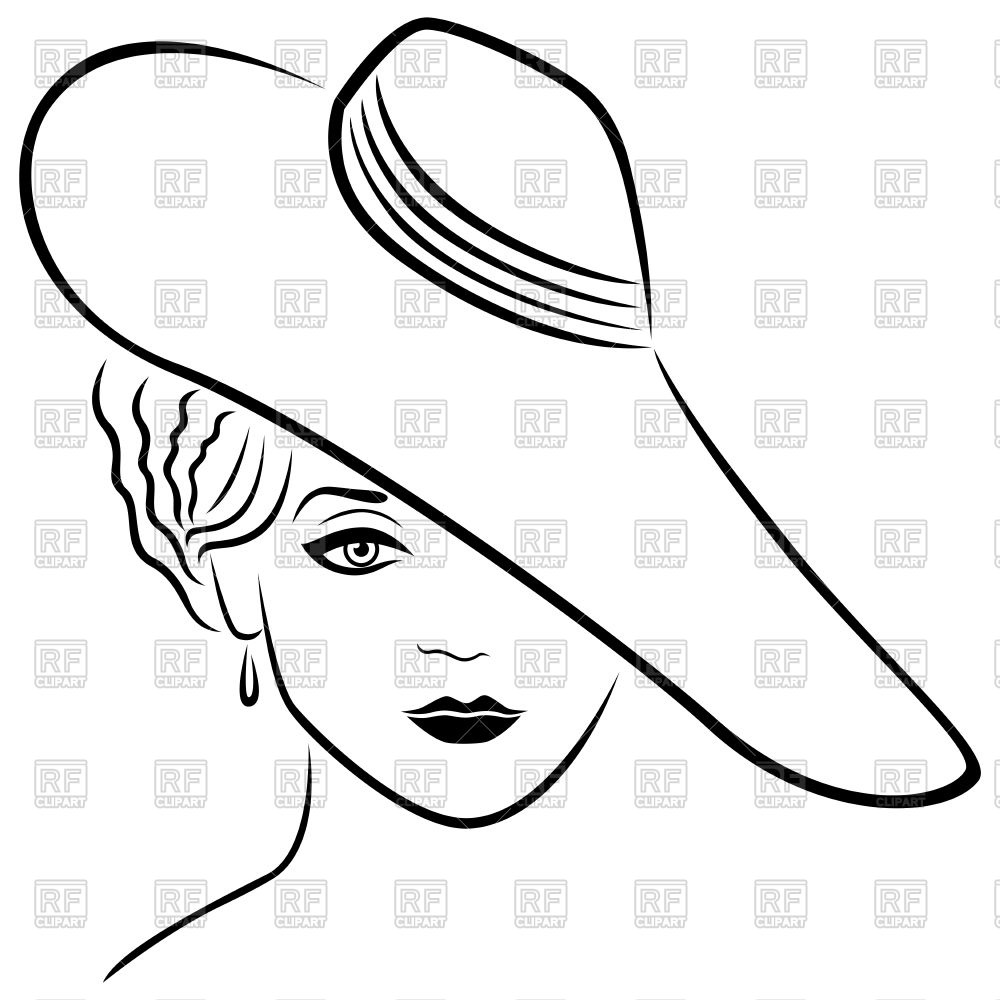 1000x1000 Beautiful Lady In Wide Brimmed Hat Outline Royalty Free Vector