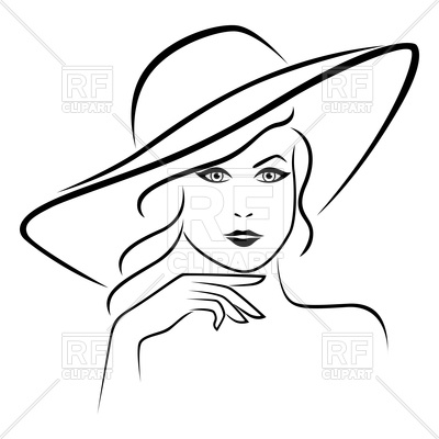 400x400 Outline Of Young Lady Portrait In Wide Brimmed Hat Royalty Free