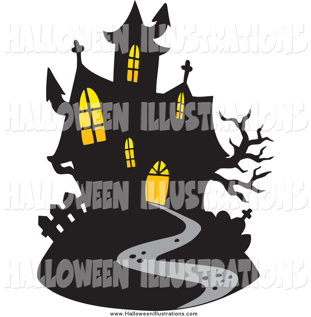 1024x1044 Clip Art Of A Haunted Mansion With Lights In The Windows By