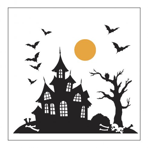 490x490 Haunted House Pillow Amp Tote Stencil