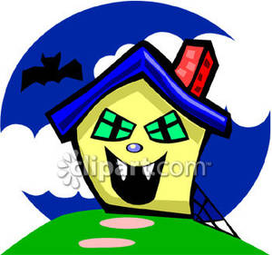 300x281 Haunted House And A Black Bat Royalty Free Clipart Picture