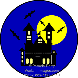 300x300 Art Illustration Of A Cartoon Haunted House With Bats And A Full Moon