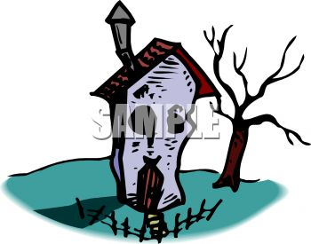 350x275 Haunted House On Halloween Clip Art