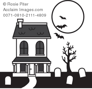300x290 Haunted House With Vampire Bats And Graveyard Royalty Free (Rf